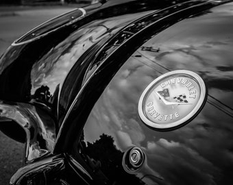 Corvette, fine art Photography, Black and white, wall art, home décor, car photography, vintage, truck, auto, gift, print