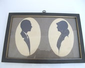 Antique Signed Cut-Out Cameo Silhouette Framed PORTRAIT of Married COUPLE