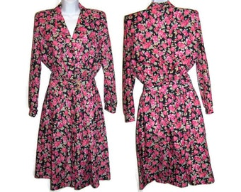 Vintage 80's Retro Women's Size 7 /8 Pink Floral Swing Day Garden Party Tea Party Flowered Day Dress