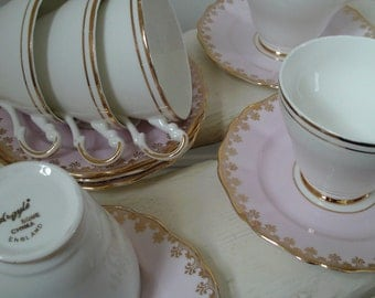 Harlequin set of 6 vintage tea-cups and saucers- pink white & gold