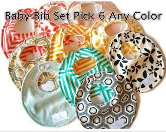 Baby Bibs Pick 6 of Your Choice Baby Bibs - Drool Bib - Newborn Bib - Baby Shower Gift - New Mom Gift SKU: Combined