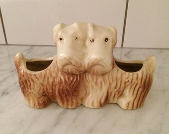 Scottie Dog Planter , Vintage Scottie , Ceramic Scottie Planter , Dog Collectible, Scottish Terrier