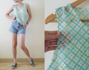 vtg MINT GREEN and yellow Daisy lace tank top, sleevelesss blouse, see through shirt, summer, hippie,festival,grunge,club kid,kawaii, M-L-XL
