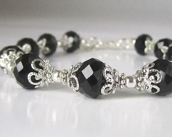Black Crystal Bridesmaid Bracelet Black Bridesmaid Jewellery Crystal Bridal Sets Black Wedding Jewellery Black and Silver Bridal Party Gifts