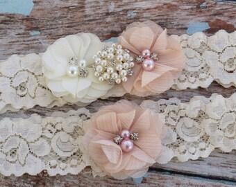 Your  Color, Blush Garter Set , Wedding Garter , Ivory and Blush Garter , Garter , Garter Set , Bridal Garter