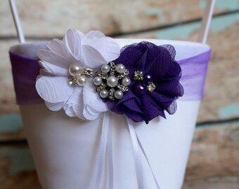 Your DESIGN , Purple Flower Girl Basket , Wedding Basket , Flower Girl Basket