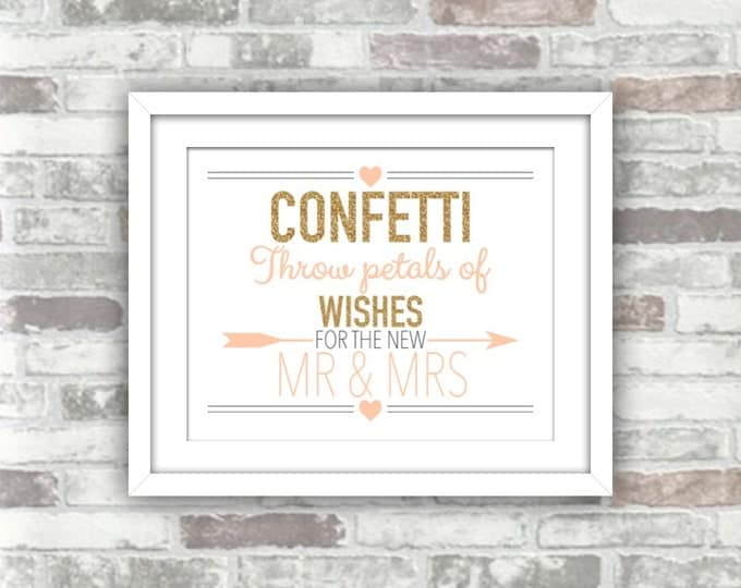 INSTANT DOWNLOAD - Printable Wedding Confetti Sign - Digital print file - Gold Glitter Blush Pink 8x10 - Throw petals of wishes Mr & Mrs