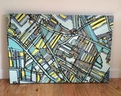 Abstract Map of Davis Square, Somerville- Gallery Wrapped Canvas Print
