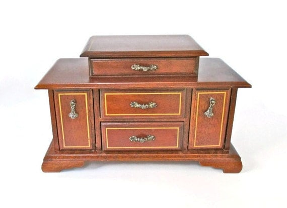 Vintage large music jewelry box solid wood jewelry chest with for Solid wood jewelry chest