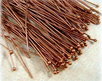 "Ball Head Pin - Copper Head Pins - Copper Ball Headpin - Copper Color - 22 gauge, 2"" Length - Qty 100"