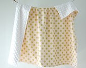 Large Baby/Toddler Blanket, Glitz Blush Pink and Gold Dot with White Minky Dot, Ready to Ship