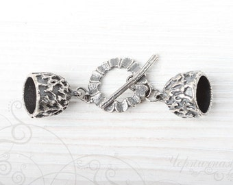 Silver Toggle Clasp - Handmade Toggle - Archaic Clasp - Silver Plated Brass Toggle - Handmade Findings S2903