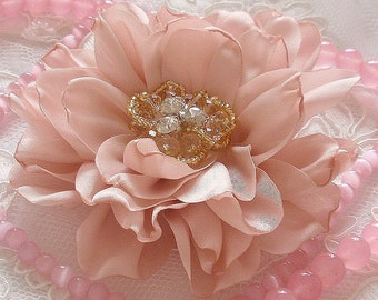 Larger Singed  Flower Singed Rose With Rhinestone Pearl (3 inches) In Moonstone My-332-06