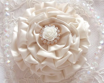 Handmade Ribbon Flower With Rhinestone Rose Button  (3 inches) In Lt Cream MY-359-04A Ready To Ship