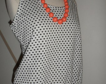 mister marty  of califoria sleeveless polka dot blouse  blackand white elastic waist 1960s 70s