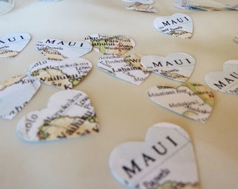 Party Confetti, party decorations, Maui Hearts, Table scatter, die cuts, Heart Confetti, wedding reception decor, Maui Heart Table Confetti