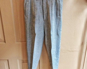 Vintage 1940s/1950s Flecked Gray Tweed Hollywood Waist Drop Loop Pants w/ Suspender Buttons. Size 31x27