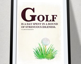 Golf Poster, Golf Quote, Gift for Golfer, Gift for Him, Sports Poster, Golf Decor, Golf Wall Decor, Dorm Decor, Quote Poster, Literary Quote