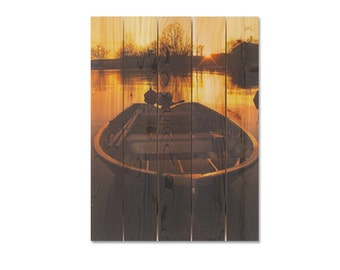 28x36 Old Fishing Boat on Lake in the Morning, Indoor Outdoor Wood Art, Wall Hanging Home Decor (PT2836)