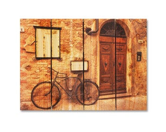 22x16 Italian Osteria Cafe on Cedar Wood, Wall Hanging, Home Decor, Indoor and Outdoor Art. (IO2216)