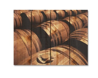 22x16 French Wine Barrels on Cedar Wood, Hang in or outside, European Wall Decor, Wall Hanging(FO2216)