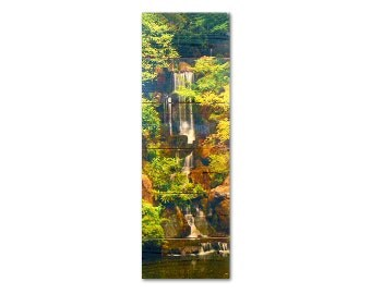 11x32 Forest Waterfall on Cedar, Wooden Wall Art, Home Decor, Indoor and Outdoor Art (FW1132)