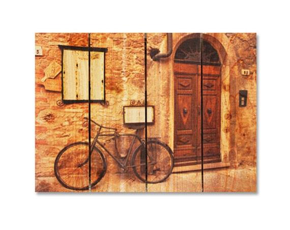22x16 Italian Osteria Cafe on Cedar Wood, Wall Hanging, Home Decor, Indoor and Outdoor Art. (IO2216)