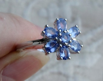 Multi-Tanzanite Sterling Silver Floral Ring Sizes 7 and 8 and 9