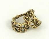 Vintage AVON 'French Filigree' Hoop Antiqued Goldtone Clip Earrings (1977). Vintage Avon Earrings. Vintage Avon Jewelry. Filigree Earrings
