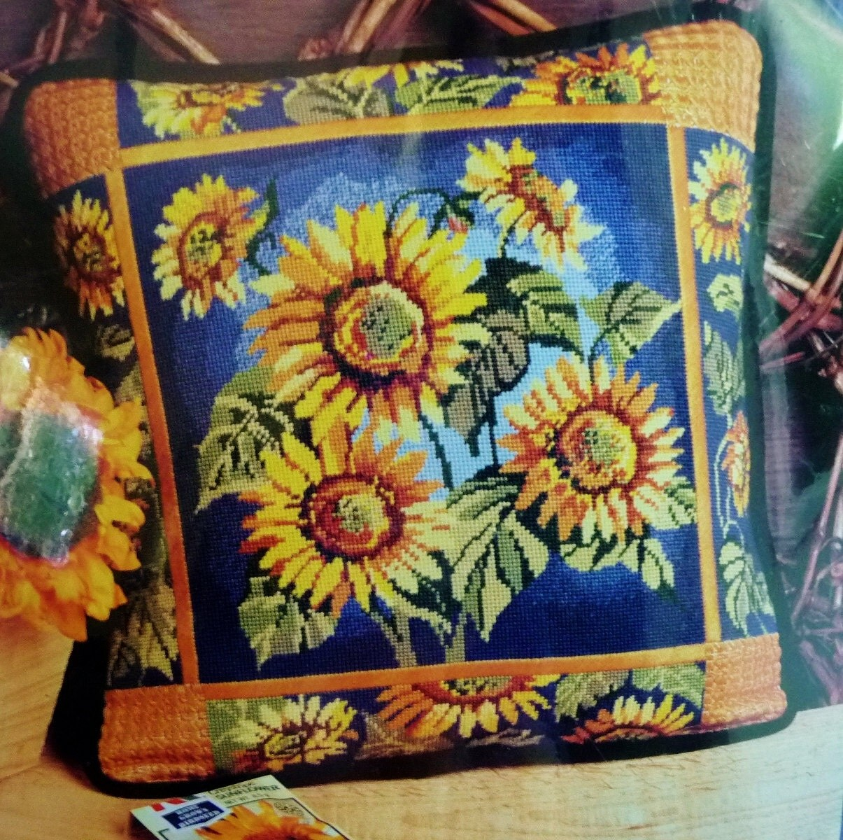 Modern Needlepoint Kits For Pillows : Sunflower Needlepoint Pillow Kit Candamar Designs Finished