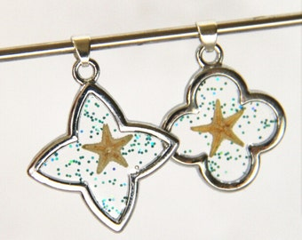 2pcs of metal flower tranparent with sparkle and real starfish 20mm-0894-10