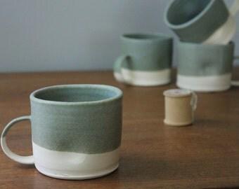 Antique Green Dimpled Mug-One Ceramic Coffee Mug