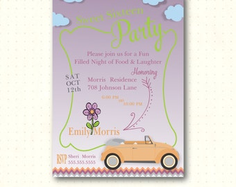 Sweet Sixteen Birthday Party Invitation, 14th, 15th, 17th, 18th, sleepover birthday, digital, printable invite B41751