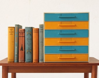 Mod Plastic Vintage Drawers Blue Yellow