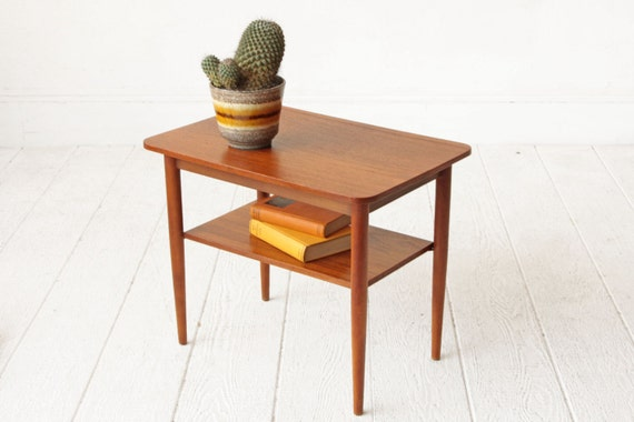 danish teak two tier mid century end table. Black Bedroom Furniture Sets. Home Design Ideas
