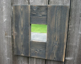 Handmade, reclaimed, wood mirror. Square, accent, wall mirror.  Distressed, rustic mirror.