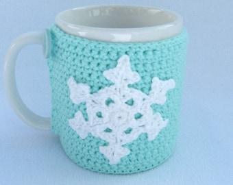 Crochet mug cozy mint green.