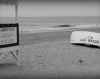 Sea Gull On The Beach Ocean City NJ Lifeguard Station And Boat Seascape Photography Print Canvas Art