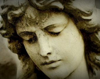 Face Of An Angel,Guardian Angel,Stone Angel,Christian,Catholic Art,Religious,Statue,Sad Face,Female Angel,Photography,Gothic Art,Canvas Art