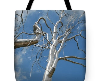 Metal Tree Tote Bag Sky Blue Beach Bag Carryall Bag Shoulder Bag
