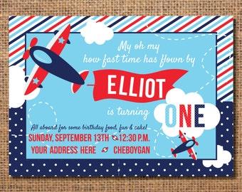 Airplane Birthday Invitation, First Birthday Boy Invitation, Airplane Birthday Party, Boy First Birthday Invite, Airplane Party Decor