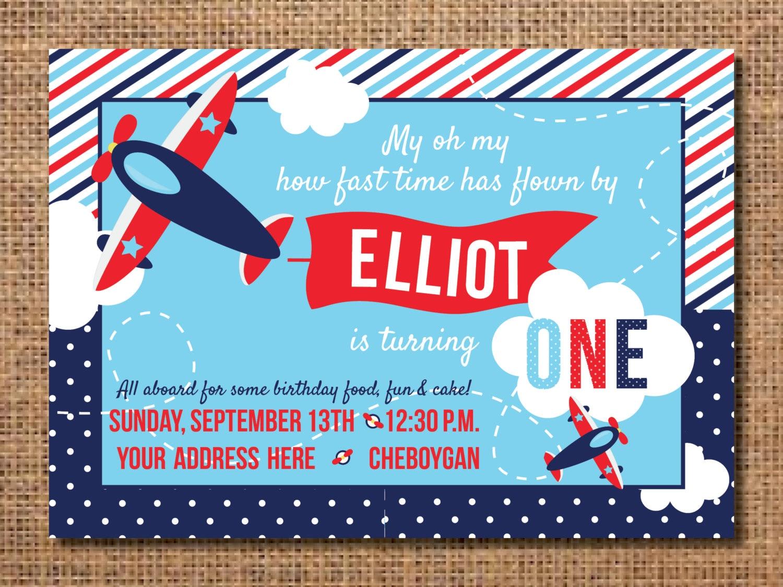 Airplane Birthday Invitation First Birthday Boy Invitation