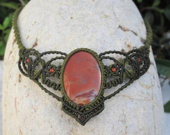 Jasper macrame necklace