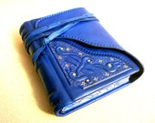 Leather Handbound Journal, Notebook, Relief, Blue Leather, Painted Edges, Gilding