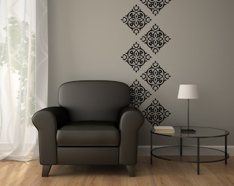 Wallpaper Decals Damask WallPaper - Damask Wall Decal - Vinyl Damask 0046
