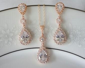 Rose Gold Bridal Jewelry SET, Teardrop Bridal Necklace, Wedding Jewelry Set, Rose Gold Bridal Earrings, Wedding Set, Pear Shaped Crystals