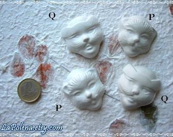 SET of 4 CAT masks, Made in Italy Venetian masks, plaster cabochons, paintable supplies, Hobby set, Mardi Gras kit