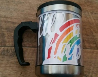 Fill me with happiness rainbow papercut travel mug