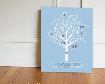 Family Tree Canvas Print, Family Tree Art, Personalized, Canvas Print, Modern Family Tree, Wedding, New Baby, Anniversary Gift