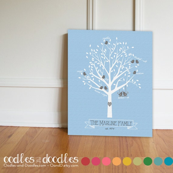 Personalised Wedding Gift Canvas : ... Personalized, Canvas Print, Modern Family Tree, Wedding, New Baby